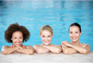 Picture of three women in the pool